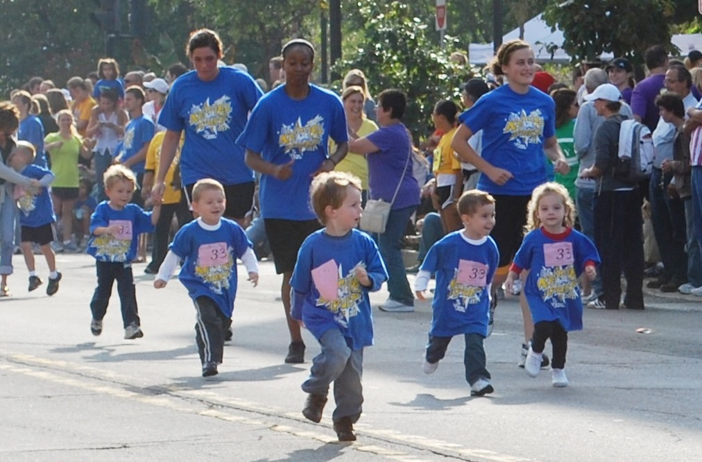 group of toddlers running