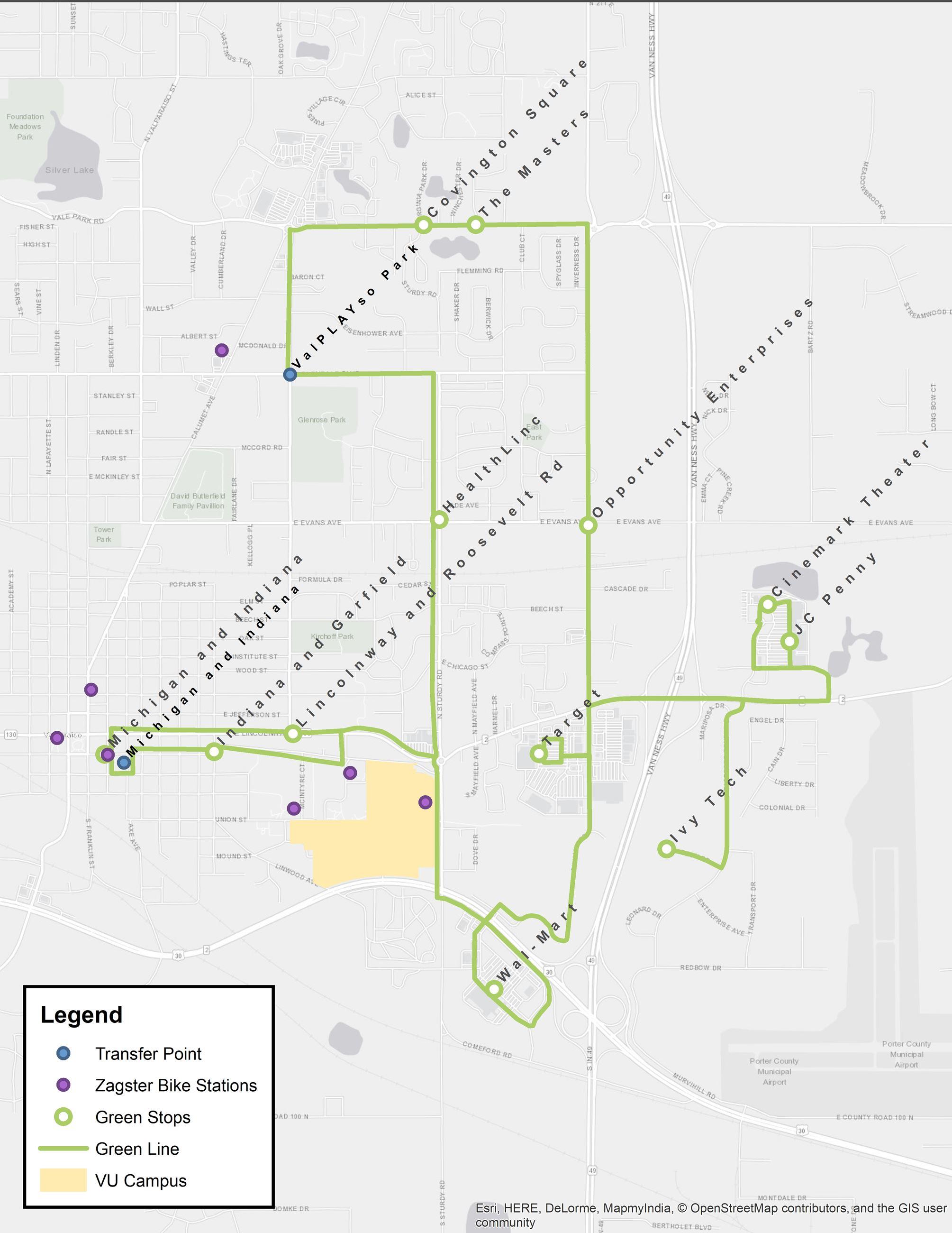 Valparaiso Campus Map.Green Route Valparaiso In Official Website