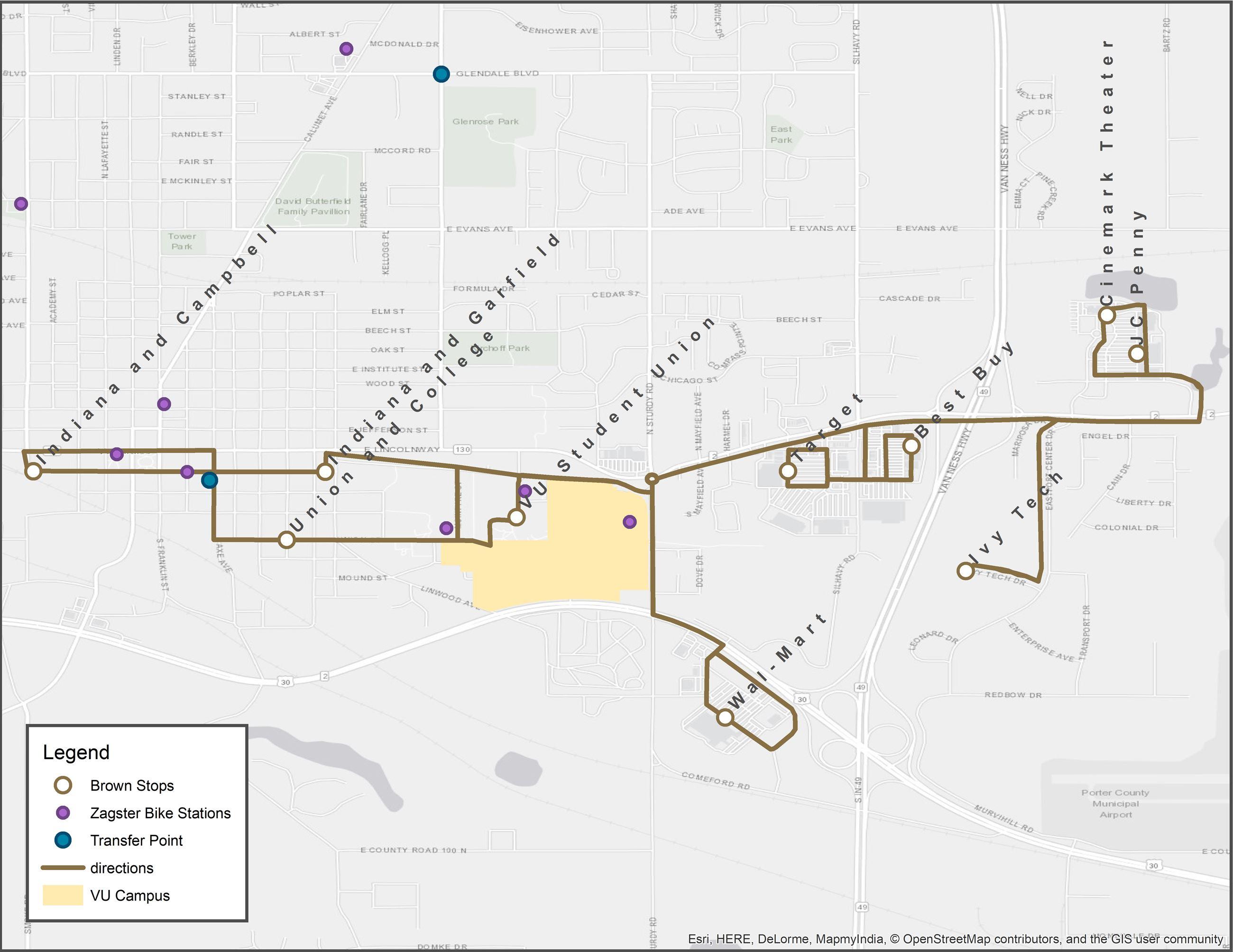 Valparaiso Campus Map.Brown Route Valparaiso In Official Website
